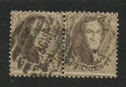 1863 - COB N° 14A - Dent. 12 1/2 X 13 1/2 - PAIRE - Oblitérée BRUXELLES NORD 8 Barres - Voir Description