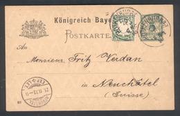 Entier Postal De Rothenburgh Pour Neuchatel (Suisse)  Avec Timbre Ajouté Nov 1903