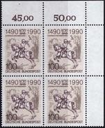 """BRD, 1990 Nr. 1445 **,  Viererblock Mit ER Oben Rechts, """"500 Jahre Internationale Postverbindungen In Europa"""""""
