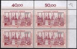 """BRD, 1990 Nr. 1447 **,  Viererblock Mit ER Oben Rechts, """"Altstadt Lübeck"""""""