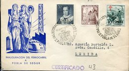18726 Spain, Circuled Registered Cover 1951 With Special Postmark For The Inauguration Of Train A Pobla De Segur