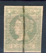 Spagna 1864 N. 59a C. 2 Azzurro Su Carta Bianca, Nuovo Profilo (barrato)  MH - Spagna