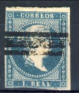 Spagna 1856 N. 40 R. 1 Azzurro Verde Su Carta Bianca, Nuovo Profilo A Destra (barrato) Fil. 2 MH - Spagna