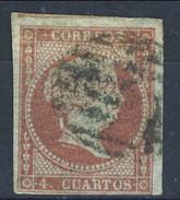 Spagna 1855 N. 35a C. 4 Rosa Carminio Su Carta Azzurrata, Nuovo Profilo A Destra Della Regina Isabella II Fil. 1 Usato - Spagna