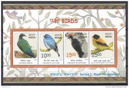 INDIA, 2016, Threatened Birds, Nicobar Pigeon,Nilgiri Flycatcher,Andaman Woodpecker. MS, MNH, (**)