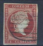 Spagna 1855 N. 35 C. 4 Carminio Violaceo Su Carta Azzurrat, Nuovo Profilo A Destra Della Regina Isabella II Fil. 1 Usato - Spagna