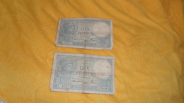 LOT DE 2 BILLETS DE 10 FRANCS MINERVE USAGE. / FRANCE / SU.14-9-1939.SU. N°669 / UD. 2-11-1939.UD. N°415. - 1871-1952 Circulated During XXth