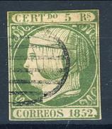 Spagna 1852 N. 15 R. 12 Verde Chiaro Profilo A Sinistra Della Regina Isabella II Usato Cat. € 195 FALSO - Spagna