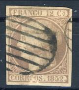 Spagna 1852 N. 13 R. 12 Lilla Profilo A Sinistra Della Regina Isabella II Usato Firmato A. Diena Cat. € 170 - Spagna