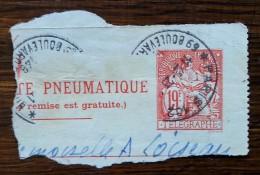 ENTIER POSTAL - Sur Morceau De PNEUMATIQUE / TELEGRAPHE - 19f Rouge