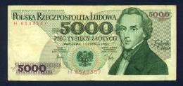 Banconota Polonia 5000 PIEC TYSIECY ZLOTYCH 1982 Circolata - Poland