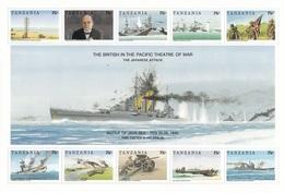 TANZANIE  - History Of World War II - The British In The Pacific Battlefield  - Feuillet Neuf** De 10 V