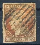 Spagna 1852 N. 12 R. 6 Rosa Profilo A Sinistra Della Regina Isabella II Usato - Spagna