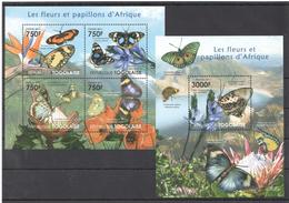 B75 2010 TOGOLAISE BUTTERFLIES LES FLEURS ET PAPILLONS D'AFRIQUE KB+BL MNH