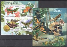 B76 2012 TOGOLAISE FAUNA BUTTERFLIES LES PAPILLONS KB+BL MNH