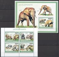 B79 2010 TOGOLAISE FAUNA ANIMALS LES ELEPHANTS 1KB+1BL MNH