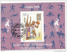 2246a Mongolia 1996 XXVI Olimpiadi Atlanta PALLACANESTRO Foglietto Perf. Nuovo Preobliterato