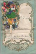 Fillette Apporte Un Bouquet De Fleurs. Se Déploie à L'ouverture. Dorure - Stamped Stationery