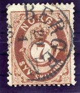 NORWAY 1873 Posthorn 7 Sk. Used. Michel 21