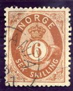 NORWAY 1875 Posthorn 6 Sk. Used. Michel 20