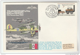 1975 Special COVER 35th ANNIV FAIREY SWORDFISH Attack ITALIAN FLEET At TARANTO Wwii Ship Navy Aviaion Gb Stamps Italy - 2. Weltkrieg