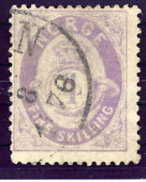 NORWAY 1875 Posthorn 4 Sk. Pale Violet Used. Michel 19e
