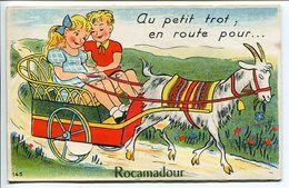 ROCAMADOUR ( Lot ) Carte Fantaisie à Système Battant Ouvrant 10 Mini Vues Au Petit Trot En Route Pour * Attelage Chèvre - Rocamadour