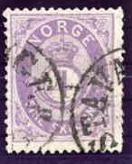 NORWAY 1873 Posthorn 4 Sk. Violet Used. Michel 19d
