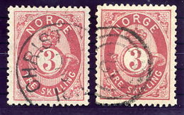 NORWAY 1872 Posthorn 3 Sk. On Both Papers Used. Michel 18a+b