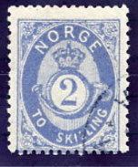 NORWAY 1874 Posthorn 2 Sk.ultramarine Used. Michel 17a