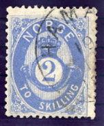 NORWAY 1874 Posthorn 2 Sk.blue Used. Michel 17a - Norway