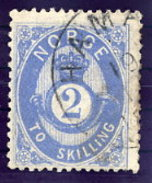 NORWAY 1874 Posthorn 2 Sk.blue Used. Michel 17a