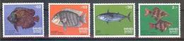SRI LANKA  Fishes Set 4 Stamps  MNH