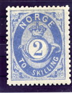 NORWAY 1874 Posthorn 2 Sk.blue LHM / *. Michel 17a