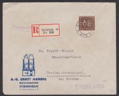 SVERIGE Stockholm R-Brief Nach Freital-Potschappel Tyskland, 15 Öre MiNr. 180, Rs. Verschlussmarke Ernst Harbig