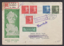 """SVERIGE Stockholm R-Brief Nach Dresden Tyskland 1949, """"zurück"""" August Strindberg, Mehrere Ausrufe"""