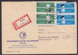 DDR Rotes Kreuz  Henri Dunant, R-Brief, Berlin Handelsabteilung Briefmarken Nach Halle, Portogenau - DDR