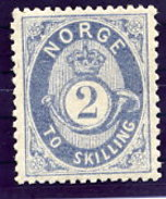 NORWAY 1872 Posthorn 2 Sk.  Grey-blue LHM / *. Michel 17b