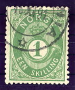 NORWAY 1875 Posthorn 1 Sk.  Yellow-green Used. Michel 16c