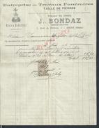 FACTURE ILLUSTREE DE 1906 J. BONDAZ TRAVAUX FUNERAIRES TAILLE DE PIERRE À GIVORS : - 1900 – 1949