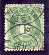 NORWAY 1875 Posthorn 1 Sk. Green Used. Michel 16c