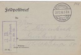 Feldpost WW1: From Romania - Reserve Feldartillerie Regiment 12 P/m 20.12.1916 By 12. Reservedivision - Letter Inside