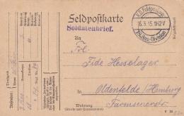 Feldpost WW1: Reserve Infanterie Regiment 84 P/m 16.3.1915 By 18. Reserve Division - Plain Postcard  (T8A18)
