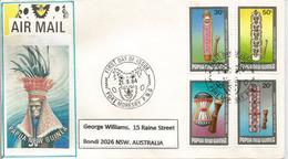 Boucliers De Guerres Et De Cérémonies, Belle Lettre De Port-Moresby,Papouasie, Adressée Australie