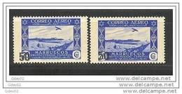 MA373-L4182.Marruecos .Maroc.Marocco.MARRUECOS  ESPAÑOL AEREA. 1953 (Ed 373**+A**) Sin Charnela.MAGNIFICA.