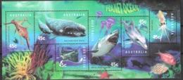 Australia  1998 Planet Ocean, Sea Animals, Whale, Shark, Dolphin, Squid, Manta Ray, Seadragon , Mi Bloc 28, MNH(**)