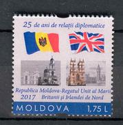 Moldova 2017 25 Years Of Diplomatic Relations  Moldova-United Kingdom And Norther Ireland  1v** MNH - Moldawien (Moldau)