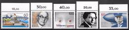 Bund 1992 / MiNr.   1583 , 1584 , 1585 , 1596 , 1597  Oberränder    ** / MNH   (e569)