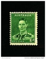 AUSTRALIA - 1941  DEFINITIVE  1 1/2 D  GREEN  WMK  PERF. 14 X 15  MINT  SG 183