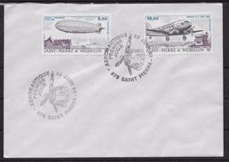 """1988 Saint Pierre Et Miquelon N° Pa 66 Et  67  . FDC  .Poste Aérienne  Dirigeable """".Hindenburg"""" Et Douglas DC 3 - FDC"""
